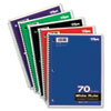 Wirebound 1-Subject Notebook, Wide Rule, 10-1/2 x 8, White, 70 Sheets/Pad