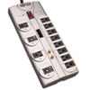 Tripp Lite TLP1208TELTV Surge Suppressor, 12 Outlets, 8 ft Cord, 2880 Joules, Silver
