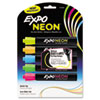 Neon Dry Erase Marker, Bullet Tip, Assorted, 5 per Pack