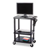 Multimedia Cart, 3-Shelf, 27-3/4w x 18-1/2d x 32-1/2h, Black