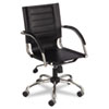 Safco Flaunt Series Mid-Back Manager's Chair, Black Leather/Chrome