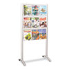 Safco Luxe Magazine Rack, 9 Compartments, 31-3/4w x 20d x 62-3/4h, Silver/Clear