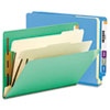 Colored End Tab Classification Folders, Letter, Six-Section, Blue, 10/Box