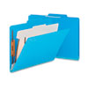 Top Tab Classification Folder, One Divider, Four-Section, Blue, 10/Box