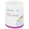 Memorex Inkjet Printable DVD+R Discs, 4.7GB, 16x, Spindle, Matte White, 100/Pack