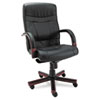 Alera Madaris Series High-Back Knee Tilt Leather Chair w/Wood Trim, Black/Mahogany