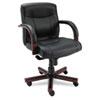 Alera Madaris Series Mid-Back knee Tilt Leather Chair w/Wood Trim, Black/Mahogany