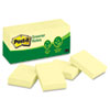 Post-it Greener Notes Recycled Notes, 1-1/2 x 2, Canary Yellow, 12 100-Sheet Pads/Pack