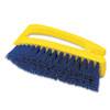 "Long Handle Scrub Brush, 6"" Brush, Yellow Plastic Handle/Blue Bristles"
