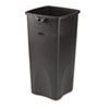 Rubbermaid Commercial Untouchable Waste Container, Square, Plastic, 23gal, Black