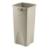 Rubbermaid Commercial Untouchable Waste Container, Square, Plastic, 23gal, Beige