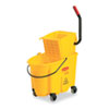 Rubbermaid Commercial Wavebrake 26-Quart Side Press Mop Bucket & Wringer Combo, Yellow