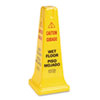 Rubbermaid Commercial Four-Sided Caution, Wet Floor Safety Cone, 10 1/2w x 10 1/2d x 25 5/8h, Yellow