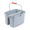 Rubbermaid Commercial 19-Quart Double Utility Pail, Plastic, 18 x 14 1/2 x 10, Gray
