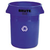 Rubbermaid Commercial Brute Recycling Container, Round, Plastic, 32gal, Blue
