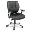 Alera Napoleon Series Petite Mid-Back Multifunction Leather Chair, Black/Chrome