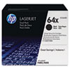 CC364XD (HP 64X) High-Yield Toner Cartridge, 24,000 Page Yield, 2/Box, Black