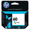 CC643WN (HP 60) Ink Cartridge, 165 Page-Yield, Tri-Color