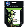 C9321FN (HP 56/57) Ink Cartridge, 520;500 Page-Yield, 2/Pack, Black; Tri-Color