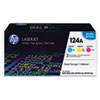 HP 124A, (CE257A) 3-pack Cyan/Magenta/Yellow Original LaserJet Toner Cartridges