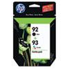 C9513FN (HP 92; HP 93) Ink Cartridge, 220 Page-Yield, 2/Pack, Black; Tri-Color