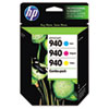 HP 940, (CN065FN) 3-pack Cyan/Magenta/Yellow Original Ink Cartridges