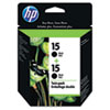 C6653FN (HP 15) Ink Cartridge, 500 Page-Yield, Black, 2/Black
