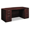 Arrive Bow Front Double Pedestal Veneer Desk, Shaker Cherry, 72w x 36d x 29-1/2h