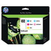 CC604FN (HP 02) Ink Cartridge, 350 Page-Yield, 5/Pack, Assorted