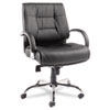 Ravino Big &amp; Tall Series Mid-Back Swivel/Tilt Leather Chair, Black