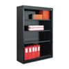 Metal Bookcase, 4 Shelves, 34-1/2w x 13d x 52h, Black