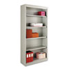 Metal Bookcase, 5 Shelves, 34-1/2w x 13d x 72h, Light Gray