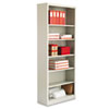 Metal Bookcase, 6 Shelves, 34-1/2w x 13d x 84h, Light Gray