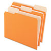 Two-Tone File Folders, 1/3 Cut Top Tab, Letter, Orange/Light Orange, 100/Box