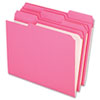 Pendaflex Two-Ply Reinforced File Folders, 1/3 Cut Top Tab, Letter, Pink, 100/Box