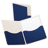 Oxford Double Stuff Gusseted 2-Pocket Laminated Paper Folder, 200-Sheet Capacity, Navy