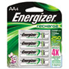 Energizer e� NiMH Rechargeable Batteries, AA, 4 Batteries/Pack