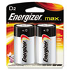 Energizer MAX Alkaline Batteries, D, 2 Batteries/Pack
