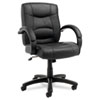 Alera Strada Series Mid-Back Swivel/Tilt Chair w/Black Top-Grain Leather Upholstery
