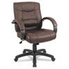 Alera Strada Series Mid-Back Swivel/Tilt Chair w/Brown Top-Grain Leather Upholstery