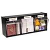deflecto Tilt Bin Plastic Storage System, 3 Bins, 23 5/8 x 7 3/4 x 9 1/2, Black