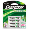 Energizer e NiMH Rechargeable Batteries, AAA, 4 Batteries/Pack