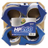 "HP260 Packaging Tape w/Dispenser, 1.88"" x 60 yard, 3"" Core, 4/Pack"