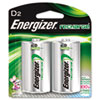 Energizer e NiMH Rechargeable Batteries, D, 2 Batteries/Pack