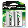 Energizer NiMH Rechargeable Batteries, D, 2 Batteries/Pack
