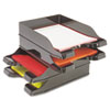 deflect-o Docutray Multi-Directional Stacking Tray Set, Two Tier, Polystyrene, Black