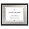 Contemporary Wood Document/Certificate Frame, Silver Metal Mat, 11 x 14, Black