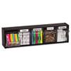 deflecto Tilt Bin Plastic Storage System w/5 Bins, 23 5/8 x 5 1/4 x 6 1/2, Black