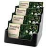 Recycled Business Card Holder, Holds 150 2 x 3 1/2 Cards, Four-Pocket, Black