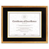 DAX Hardwood Document/Certificate Frame w/Mat, 11 x 14, 8 1/2 x 11, Antiqued Gold